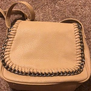 Tan crossbody with chain detail